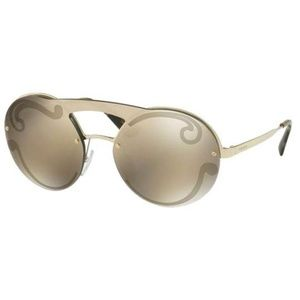 Prada Round Style Gold Mirrored Lens